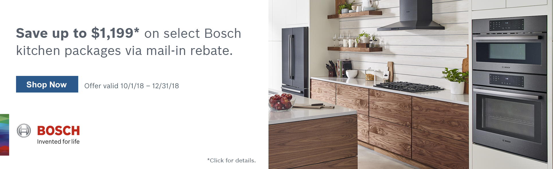 Save up to $1199 with qualified Bosch Appliance purchase